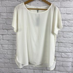 NWT Cassis White Short Sleeve Blouse Size Small
